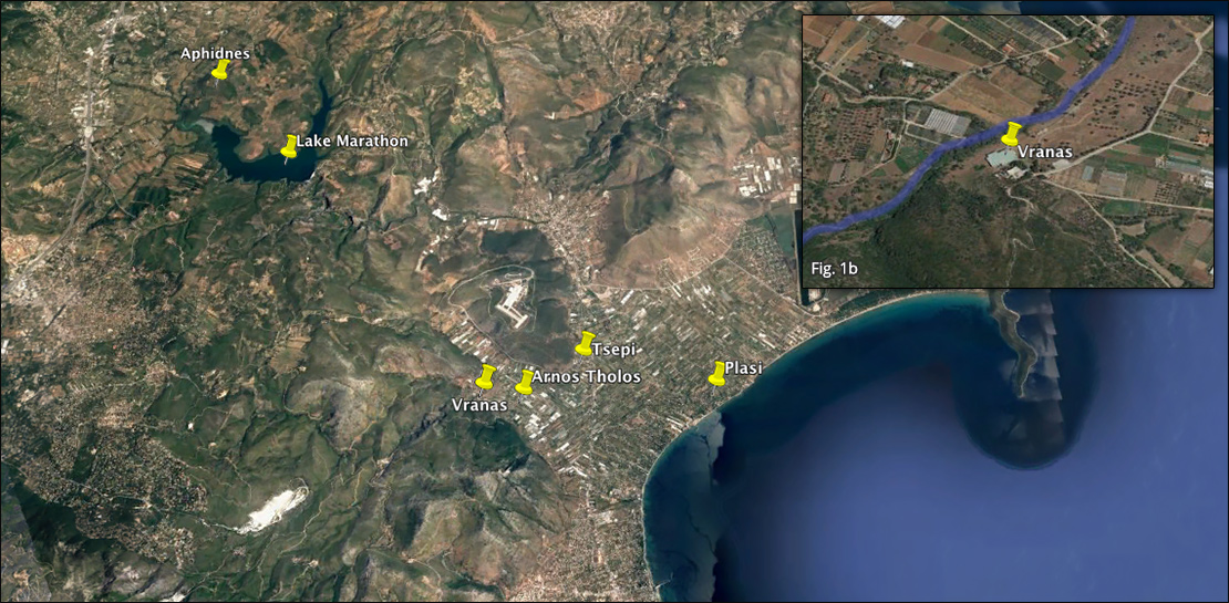 The Marathon plain with the main Bronze Age sites - Vranas Marathon