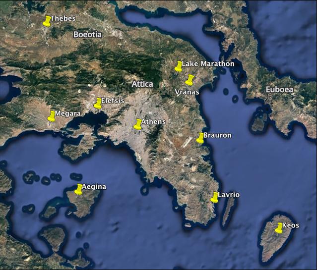 Χάρτης της Αττικής με ορισμένες κύριες θέσεις της Εποχής του Χαλκού - Βρανάς Μαραθώνα