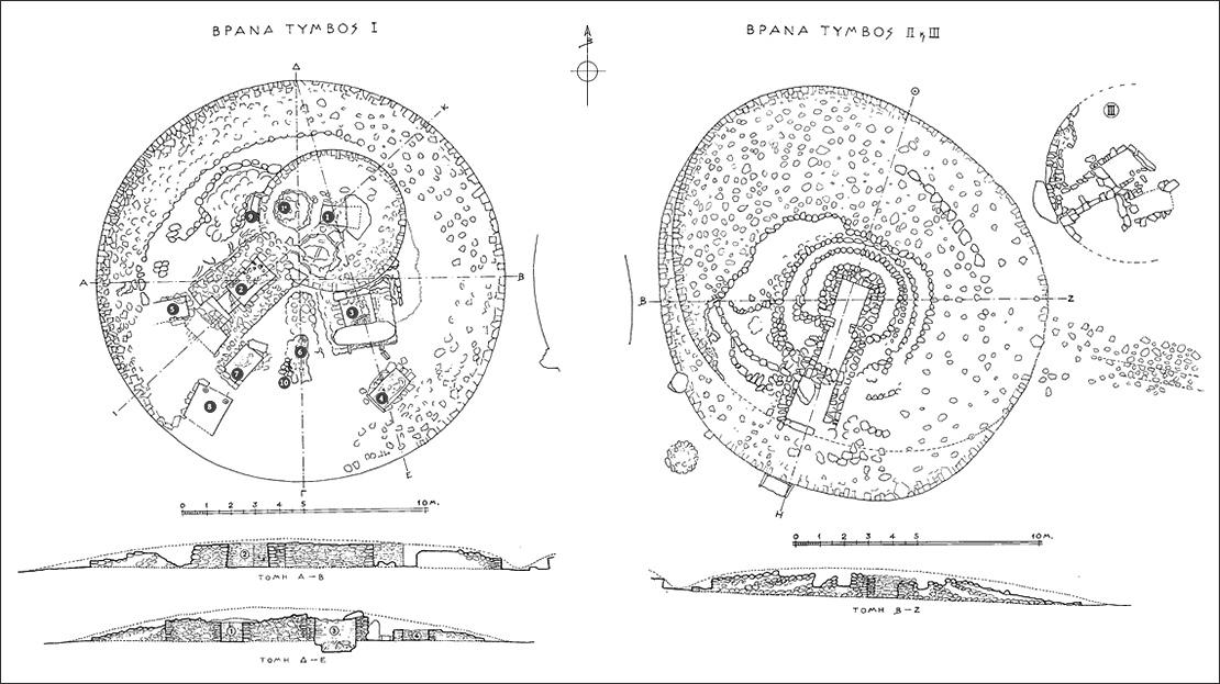 Κατόψεις των Τύμβων Ι, ΙΙ, και ΙΙΙ - Βρανάς Μαραθώνα